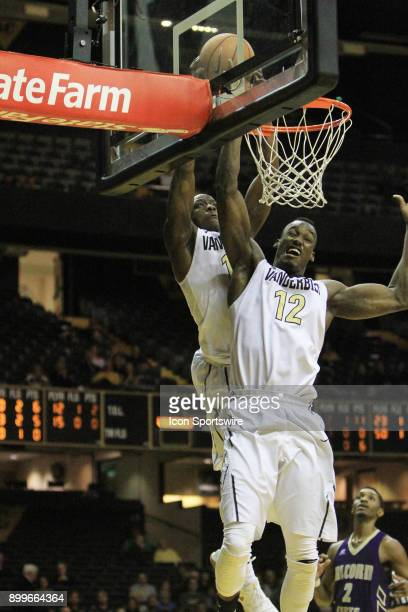 Vanderbilt Commodores Maxwell Evans and Djery Baptiste both dunk a lob pass in the second half of a nonconference game between the Vanderbilt...
