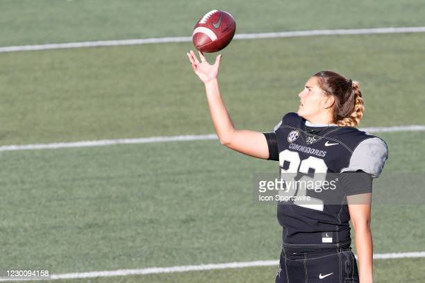 Vanderbilt Commodores place kicker Sarah Fuller catches a ball with one hand during warm ups prior to a game between the Vanderbilt Commodores and...