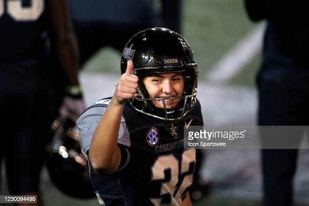 Vanderbilt Commodores place kicker Sarah Fuller gives a thumbs up after successfully kicking her second point after attempt during a game between the...