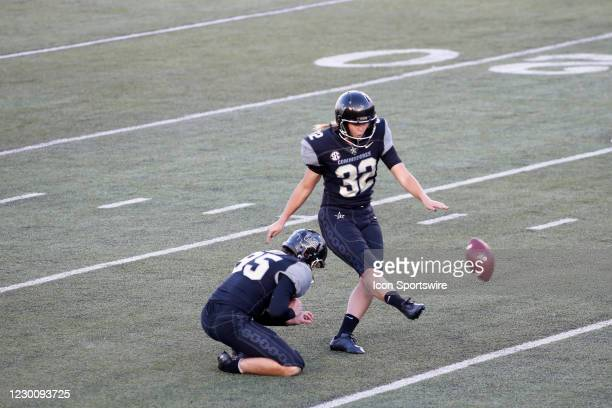Vanderbilt Commodores place kicker Sarah Fuller kicks an extra point to become the first female to score a point for a power five conference team...