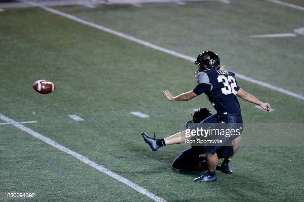 Vanderbilt Commodores place kicker Sarah Fuller kicks her second successful point after attempt during a game between the Vanderbilt Commodores and...