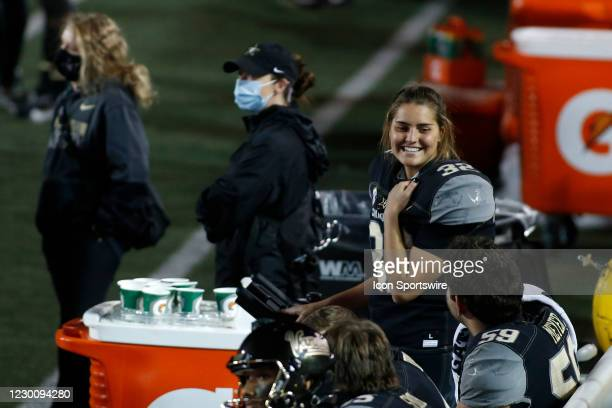Vanderbilt Commodores place kicker Sarah Fuller smiles on the sideline after hitting her second point after attempt during a game between the...