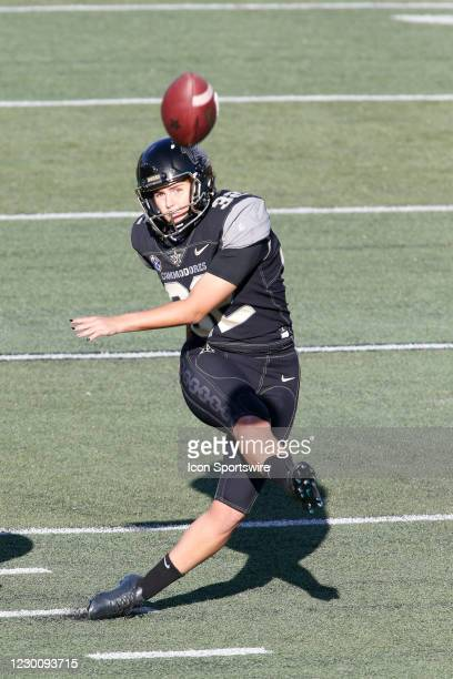 Vanderbilt Commodores place kicker Sarah Fuller warms up prior to a game between the Vanderbilt Commodores and Tennessee Volunteers, December 12,...