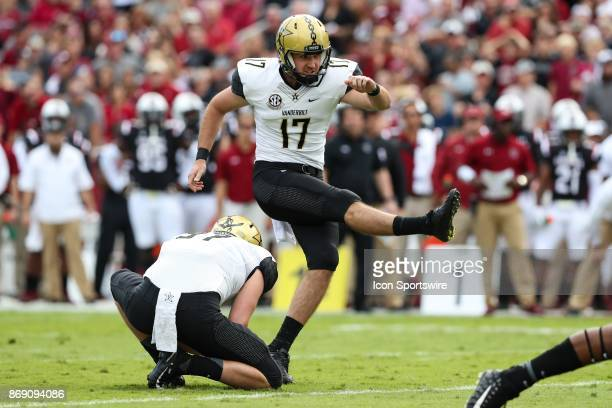 Vanderbilt Commodores place kicker Tommy Openshaw adds a field goral during SEC play on October 28 2017 between the Vanderbilt Commodores and the...