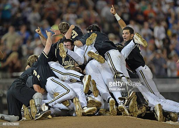Vanderbilt Commodores players celebrated after beating the Virginia Cavaliers 32 to win the College World Series Championship Series on June 25 2014...