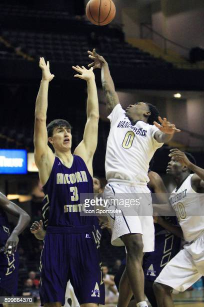 Vanderbilt Commodores Saben Lee is fouled by Alcorn State Braves defender Tyler Carter on a shot in the second half of a nonconference game between...
