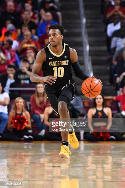 Vanderbilt guard Darius Garland brings the ball up the court during a college basketball game between the Vanderbilt Commodores and the USC Trojans...