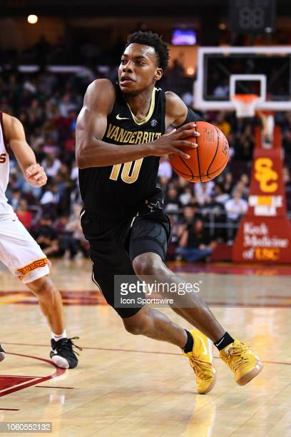 Vanderbilt guard Darius Garland drives to the basket during a college basketball game between the Vanderbilt Commodores and the USC Trojans on...