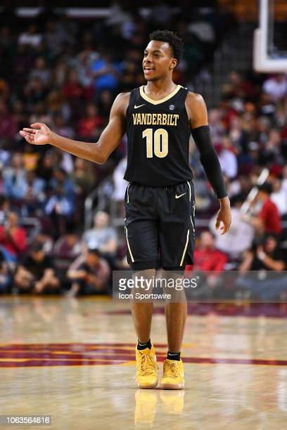 Vanderbilt guard Darius Garland looks on during a college basketball game between the Vanderbilt Commodores and the USC Trojans on November 11 at the...