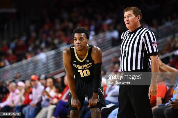 Vanderbilt guard Darius Garland looks on with the official during a college basketball game between the Vanderbilt Commodores and the USC Trojans on...