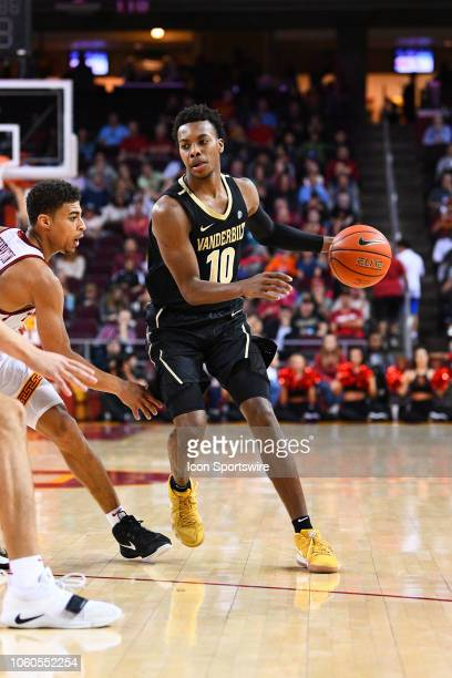 Vanderbilt guard Darius Garland looks to drive to the basket during a college basketball game between the Vanderbilt Commodores and the USC Trojans...