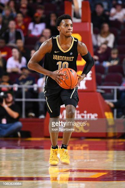 Vanderbilt guard Darius Garland makes a pass up the court during a college basketball game between the Vanderbilt Commodores and the USC Trojans on...
