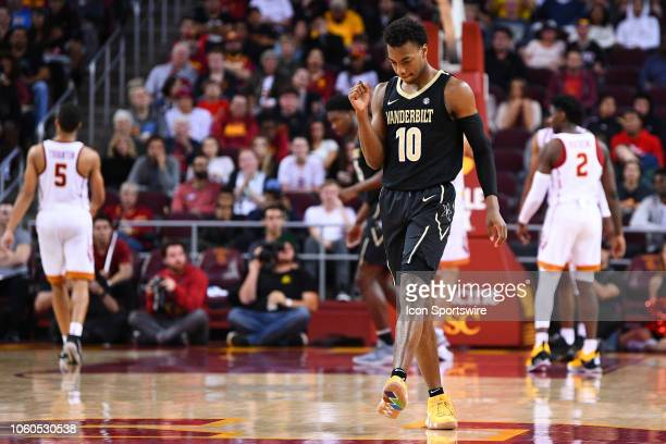 Vanderbilt guard Darius Garland reacts to a basket during a college basketball game between the Vanderbilt Commodores and the USC Trojans on November...