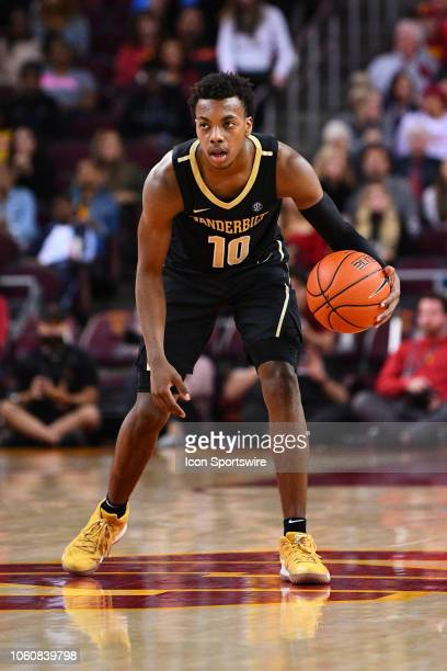 Vanderbilt guard Darius Garland starts the offense during a college basketball game between the Vanderbilt Commodores and the USC Trojans on November...