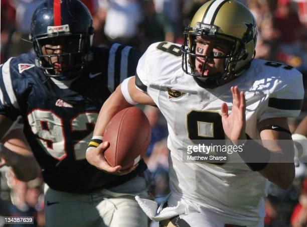Vanderbilt reserve quarterback Mackenzi Adams scrabmles against the Ole Miss defense at Vaught-Hemingway Stadium in Oxford, Mississippi, October 7,...