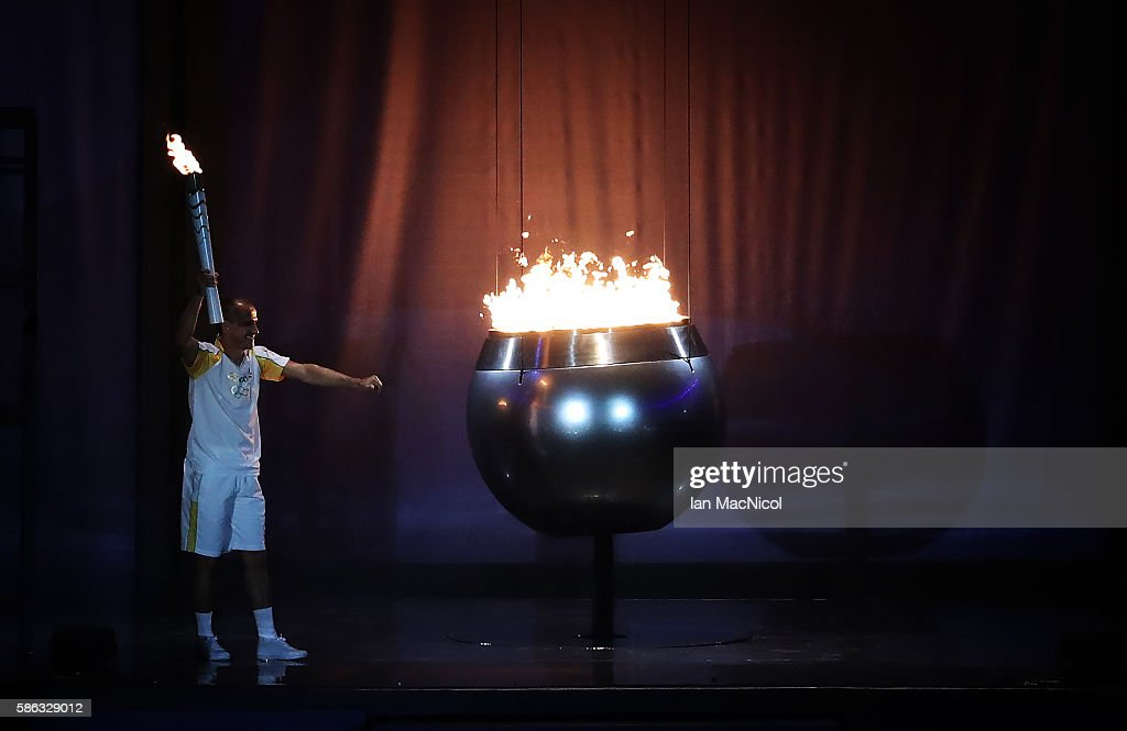 Vanderlei de Lima lights the Olympic Cauldron during The 2016 Summer Olympics Opening Ceremony at Maracana Stadium on August 5, 2016 in Rio de Janeiro, Brazil.