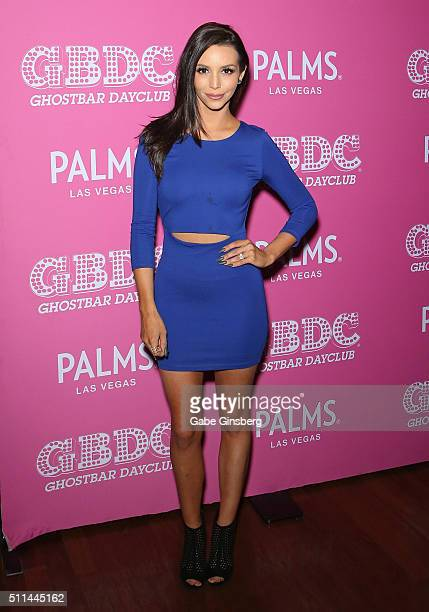 'Vanderpump Rules' cast member Scheana Shay arrives at Ghostbar Dayclub at Palms Casino Resort on February 20 2016 in Las Vegas Nevada