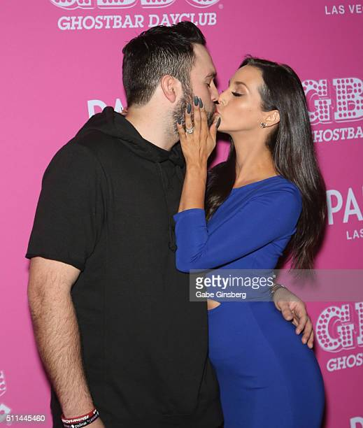 'Vanderpump Rules' cast members Mike Shay and his wife Scheana Shay arrive at Ghostbar Dayclub at Palms Casino Resort on February 20 2016 in Las...