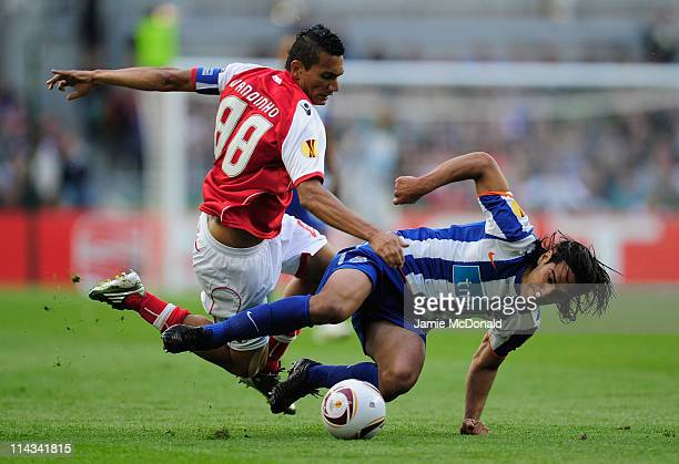 Vandinho of SC Braga clashes with Radamel Falcao Garcia of FC Porto during the UEFA Europa League Final between FC Porto and SC Braga at Dublin Arena...