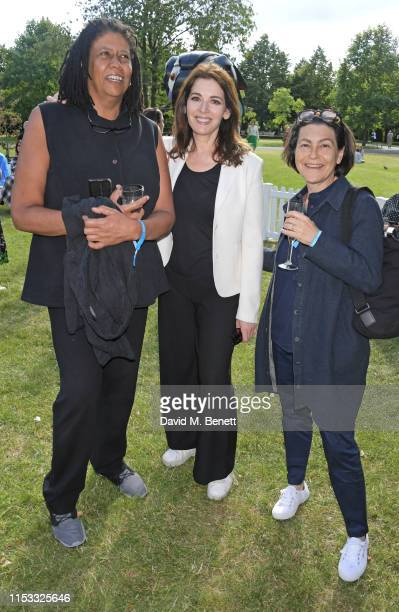 LR Vandy Nigella Lawson and Caz Hildebrand attend a VIP preview of Frieze Sculpture 2019 in Regent's Park on July 2 2019 in London England