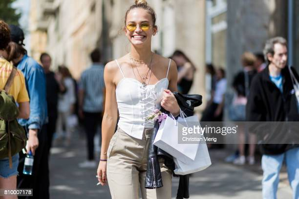 Vanelli Melli during the MercedesBenz Fashion Week Berlin Spring/Summer 2018 at Kaufhaus Jandorf on July 6 2017 in Berlin Germany