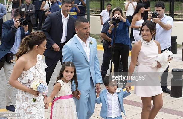 Vanesa Mansilla Katia Tevez Carlos Tevez Lito Junior Tevez and Florencia Tevez arrive to the San Isidro City Hall for the civil wedding ceremony of...
