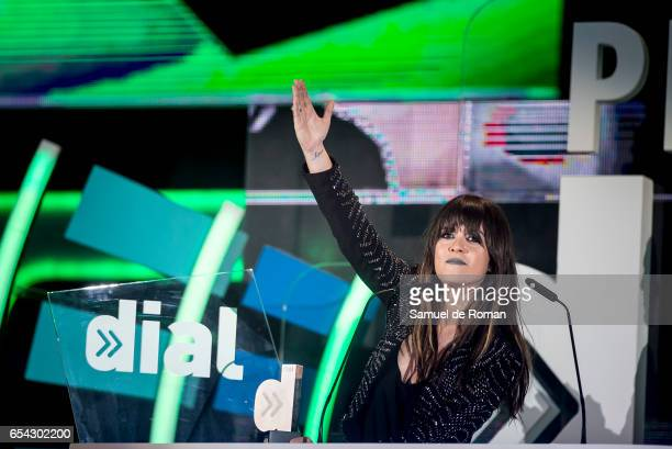 Vanesa Martin receives an award at the Cadena Dial Awards on March 16 2017 in Tenerife Spain