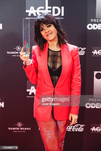 Vanesa Martin winner for Best Female Artist poses in the trophy room during the 1st Odeon Awards at Teatro Real on January 20 2020 in Madrid Spain