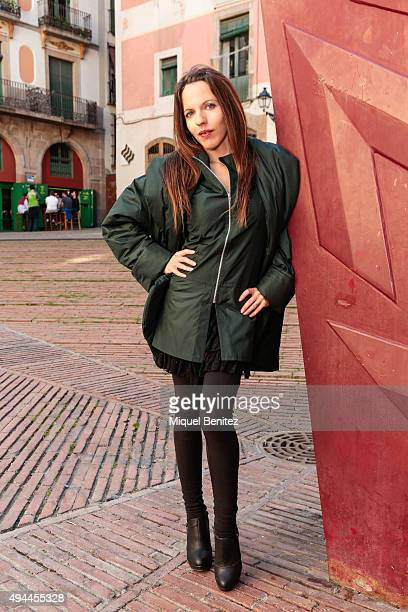 Vanesa poses wearing Roser Marce green coat and green shirt Bershka trousers Callypso watch and Maria Mare shoes at the Born district on October 23...