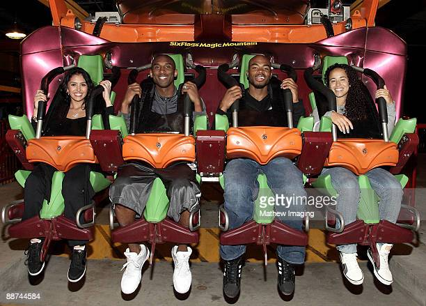 COVERAGE*** Vanessa and Kobe Bryant double date with Corey and Milli Maggette as they ride Tatsu the flying coaster at Six Flags Magic Mountain on...