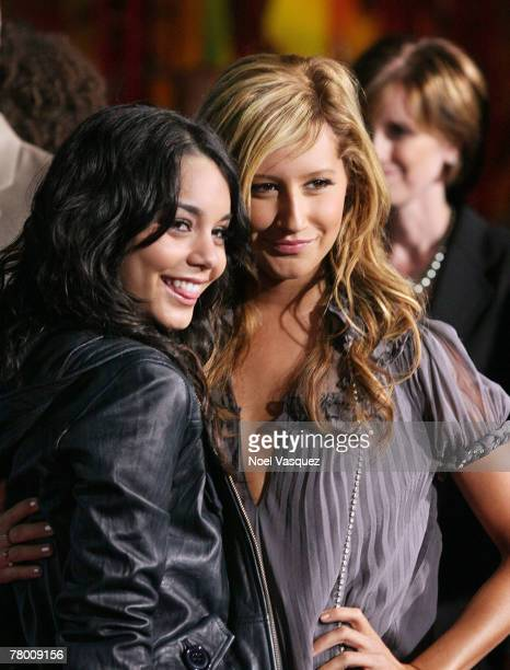 Vanessa Anne Hudgens and Ashley Tisdale arrive at the DVD premiere of Disney's 'High School Musical 2' held at the El Capitan Theatre on November 19...