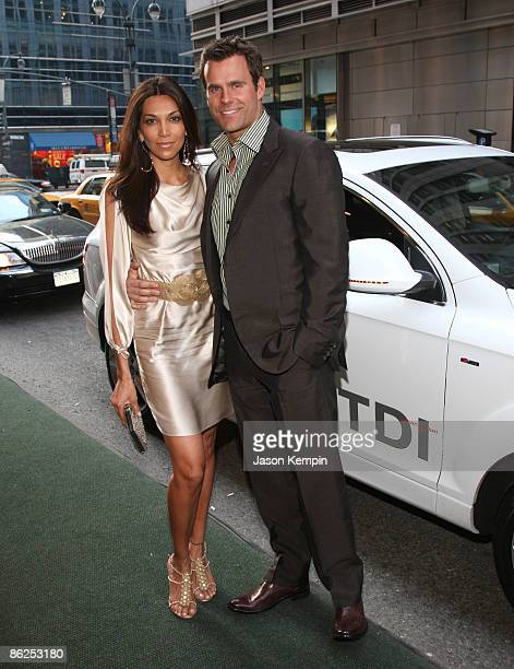 Vanessa Arevalo and actor Cameron Mathison arrive in an Audi Q7 TDI clean diesel to the Point Honors at Roosevelt Hotel on April 27 2009 in New York...