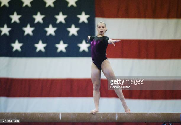 Vanessa Atler competing in the Balance Beam event of the Women's artistic team allaround competition during the John Hancock United States Gymnastics...