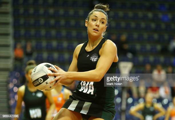 Vanessa Augustini of the Magpies in action during the Australian Netball League grand final between the Tasmanian Magpies and the Canberra Giants at...