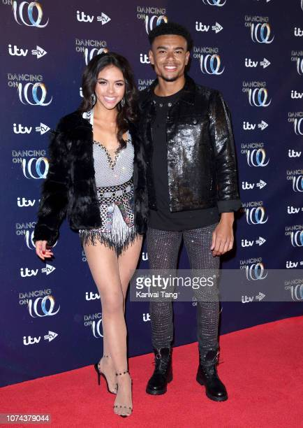Vanessa Bauer and Wes Nelson attend a photocall for the new series of Dancing On Ice at Natural History Museum Ice Rink on December 18 2018 in London...