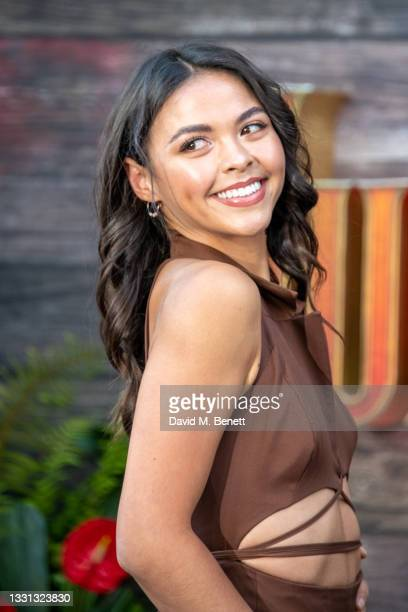 """Vanessa Bauer attends the London Premiere of Disney's """"Jungle Cruise"""" at Cineworld Leicester Square on July 29, 2021 in London, England."""