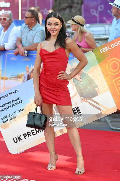 """Vanessa Bauer attends the """"Off The Rails"""" World Premiere at Odeon Luxe Leicester Square on July 22, 2021 in London, England."""