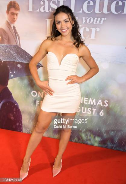 """Vanessa Bauer attends the UK Premiere of """"The Last Letter From Your Lover"""" at The Ham Yard Hotel on July 27, 2021 in London, England."""