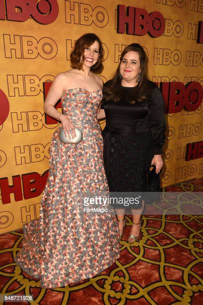 Vanessa Bayer and Aidy Bryant attend the HBO's Official 2017 Emmy After Party at The Plaza at the Pacific Design Center on September 17 2017 in Los...
