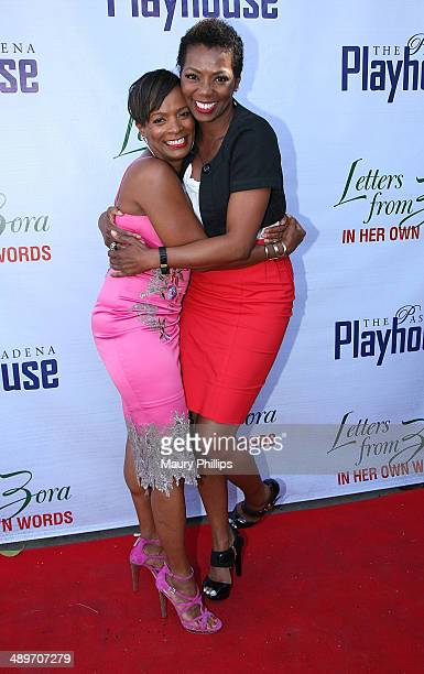 Vanessa Bell Calloway and Vanessa Williams arrive at Letters From Zora In Her Own Words opening night at the Pasadena Playhouse on May 11 2014 in...
