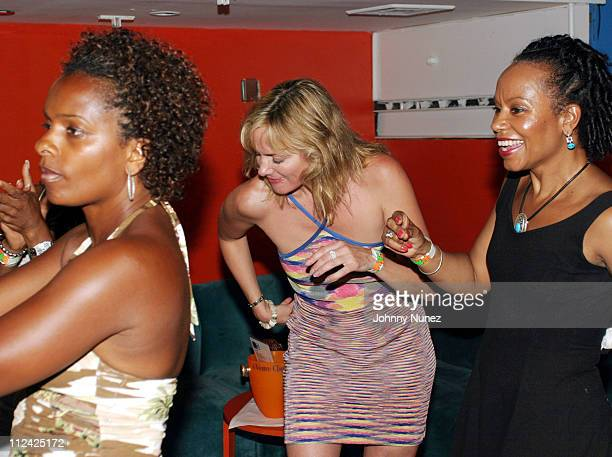 Vanessa Bell Calloway Kim Cattrall and guest during Sean P Diddy Combs' Fourth of July East Hampton Party at The Resort in East Hampton New York...