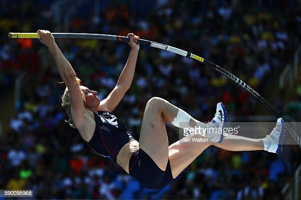 Vanessa Boslak of France competes during the Women's Pole Vault Qualifying Round Group A on Day 11 of the Rio 2016 Olympic Games at the Olympic...