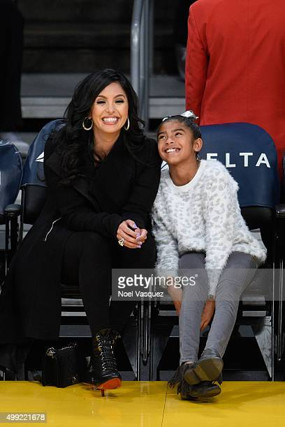 Vanessa Bryant and Gianna MariaOnore Bryant attend a basketball game between the Indiana Pacers and the Los Angeles Lakers at Staples Center on...