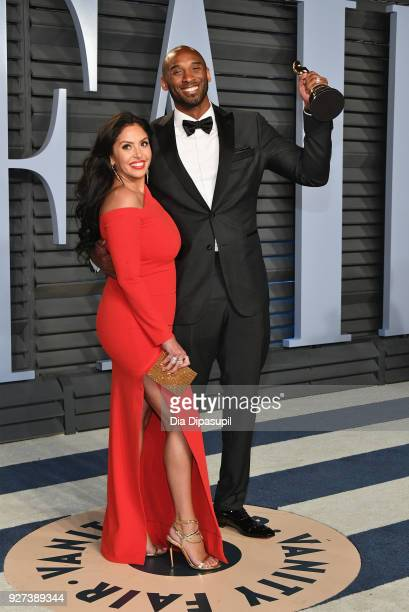 Vanessa Bryant and Kobe Bryant attend the 2018 Vanity Fair Oscar Party hosted by Radhika Jones at Wallis Annenberg Center for the Performing Arts on...