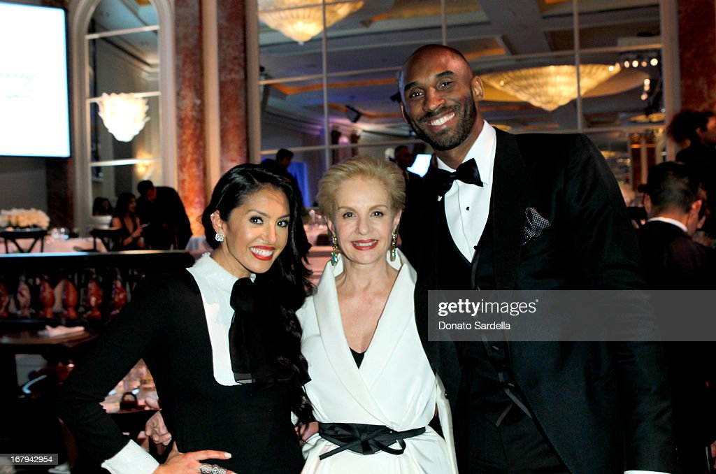 "Vanessa Bryant, designer Carolina Herrera and NBA player Kobe Bryant attend EIF Women's Cancer Research Fund's 16th Annual ""An Unforgettable Evening"" presented by Saks Fifth Avenue at the Beverly Wilshire Four Seasons Hotel on May 2, 2013 in Beverly Hills, California."