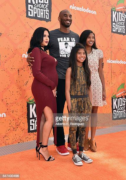 Vanessa Bryant, former NBA player Kobe Bryant, Gianna Bryant and Natalia Bryant attend the Nickelodeon Kids' Choice Sports Awards 2016 at UCLA's...