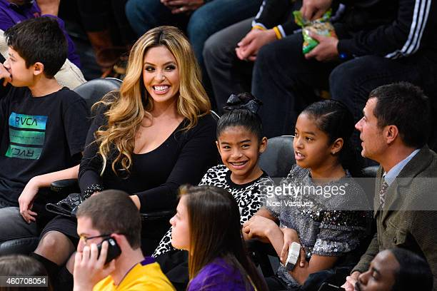 Vanessa Bryant, Gianna Maria-Onore and Natalia Diamante Bryant attend a basketball game between the Oklahoma City Thunder and the Los Angeles Lakers...