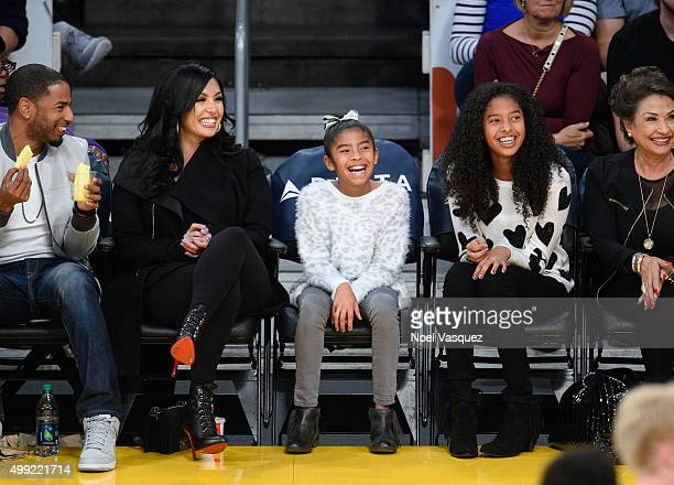 Vanessa Bryant, Gianna Maria-Onore Bryant and Natalia Diamante Bryant attend a basketball game between the Indiana Pacers and the Los Angeles Lakers...
