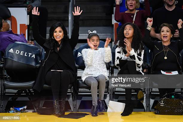 Vanessa Bryant Gianna MariaOnore Bryant and Natalia Diamante Bryant attend a basketball game between the Indiana Pacers and the Los Angeles Lakers at...