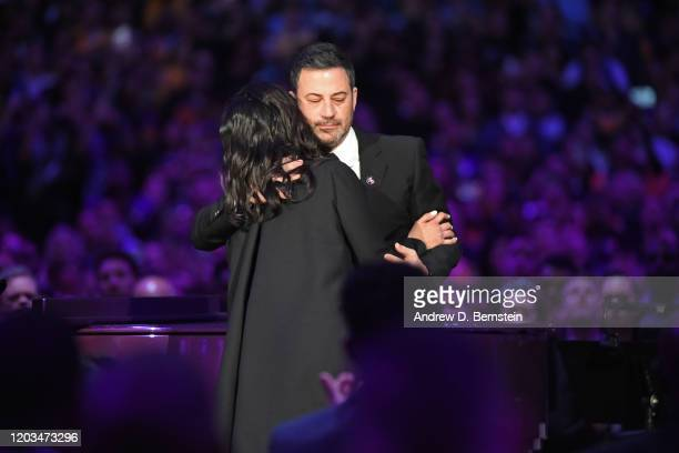 Vanessa Bryant hugs Host Jimmy Kimmel as she walks on the stage during the Kobe Bryant Memorial Service on February 24 2020 at STAPLES Center in Los...